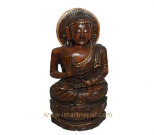 red wooden buddha