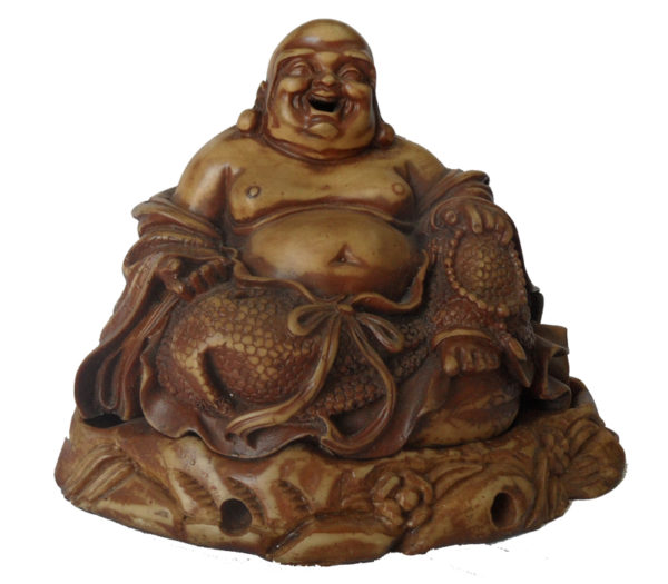 Brown Ceramic Laughing Buddha